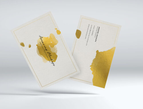 White/gold business card mockups – 20 views